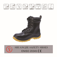 CE high neck leather black industrial security safety shoes for men 9883