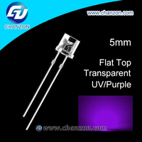 Ultra bright 395nm through hole Flat top 5mm diode LED UV