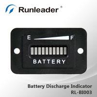10-Bar LED Digital State Battery Discharge Indicator for Golf Cart, Electric Vehicle,12V&24V,24V,36V,48V,72V-RL-BI003
