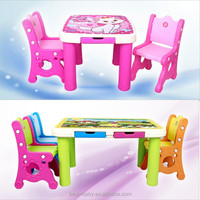 Children study lovely plastic study tables and chairs