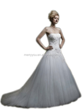 MARRY YOU Strapless Soft Sweetheart With Tulle Ruched Bodice Beaded Lace Appliques European Fashion Wedding Dress(MY2058CASA)