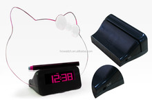 Kitty shape LED decorative clock with message board,recordable message clock message board clock