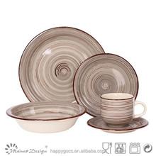 2015 new high quality handprinting 2 tones ceramic dinner set