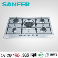 5 burners built-in stainless steel gas hobs cast iron or ceramic pan support front control