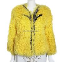 Wholesale Brand Design Lady's Genuine Mongolian Lamb Real Fur Jacket Coat for Women