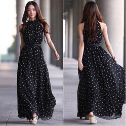 Long chiffon dress wave Point dot Sleeveless Maxi Summer Beach Long Dress chiffon shirt new style