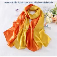 Dubai Muslim orange and yellow silk hijab scarf,180*65cm stain scarf,shwal scarf for women