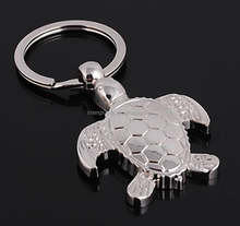 Wholesalel Mini Silvery Tortoise Shaped Metal Car Key Chains for Gifts and Decorations