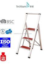 3 steps wooden pedals aluminum ladder