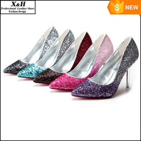 Pointed Toe Pumps High Heel Wedding Shoes Prom Party Women Shoes Shining Sequins gradient color Bridal Shoes