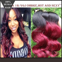 Hot selling!Grade 6a two tone color brazilian Hair Weaves,1b and color 99j t-color body wave brazilian hair weaving extensions