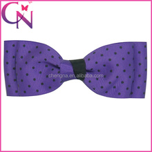 wholesale polka dot hair bow grosgrain ribbon hairpin for kids