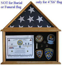 Military Shadow Box Flag Display Case for 4' X 6' Flag ONLY, SOLID Wood,