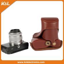 Custom leather pu digital slr dslr long lens camera case/bag men's camera bag for Olympus EPl5
