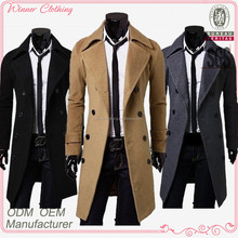 2015 classic wool knee length warm winter long mens trench coat