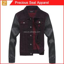woman tops denim jeans jacket with pu sleeve (PSA1504-44)