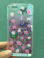2015 New Hot Sale Liquid Transparent Quicksand Back Cover Case for iPhone Glitter Phone Case