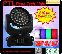 Wide Zoom 36 x 10w Quad Color 4 in 1 LED Wash Moving Head LED DMX