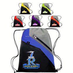 Classic waterproof 210D polyester promotional products wholesale drawstring school/gym/sports/beach bag with zipper pocket