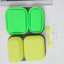 FDA &LFGB Cetificated Different Size Foldable Silicone Lunch Box With Lids Food Containers For Kids