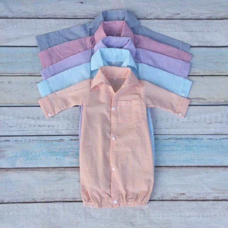 Wholesale Seersucker Baby Boy Monogrammed Gowns Button Down Infant ...