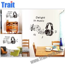 Fashion Headphones Pattern Removable Home Decorations Musical Room Art deco Wall Sticke