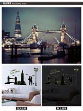 1 set 27*63 pollici rimovibile pvc adesivo fluorescente parete london tower ponte e Big Ben abq9603 poster per la decorazione camera da letto
