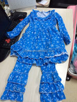 Boutique snowflake printed winter clothing outfit name brand kids clothing sets wholesale chinese clothing online store