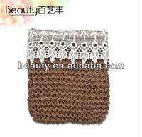 Lace Trim Paper Straw Crocheting Cross Body Shoulder Bag