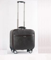 PU luggage airplane trolley bag with wheels