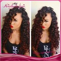 Beautiful Fashion curly two tone wig Glueless Lace Front Wig Malaysian human hair full lace wig with baby hair