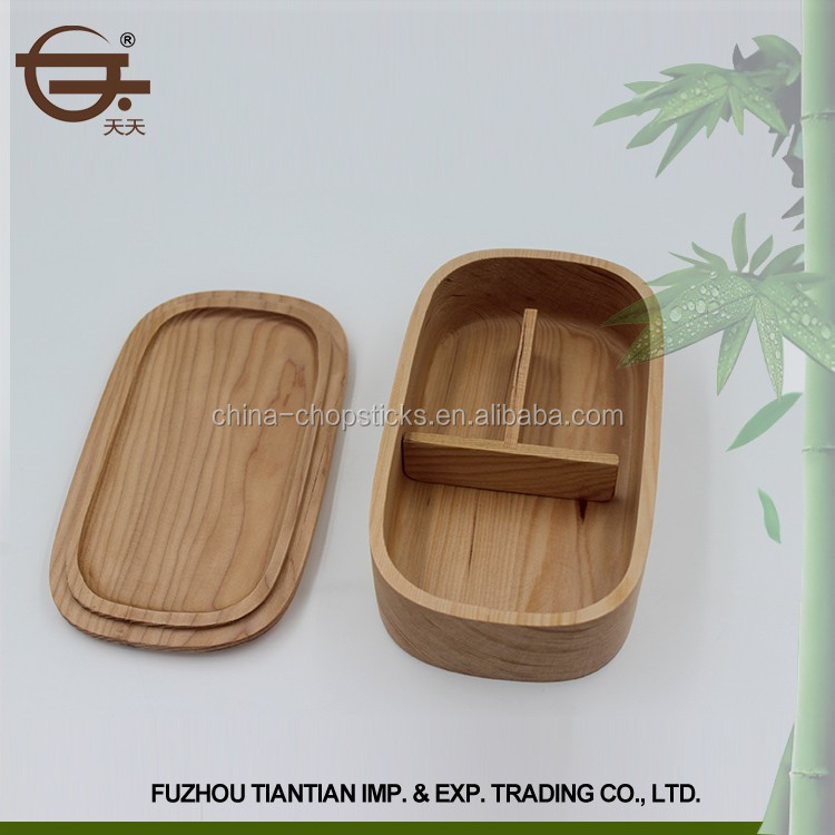 Alta qualidade 3 do compartimento de madeira garrafa térmica lancheira oval