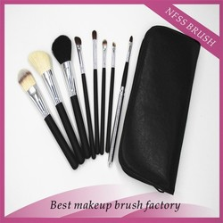 Black Leather Case ,top Quality ! 7pcs professional soft cosmetic makeup brush set Wool Makeup Brushes Tools Set