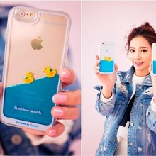 Cute Floating Swimming Rubber Duck 3D Liquid Water Hard Phone Case for iPhone 6