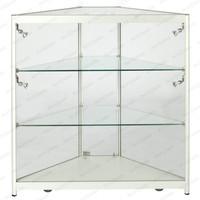 Lighted trangle shop vitrin diagonal corner glass cabinet