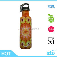 Air transfer printing full around the single wall stainless steel sport water bottle with hook carabiner