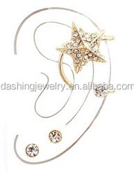 Star Shape Ear Cuff Set with Crystal Rhinestones gold star shaped diamond earrings in cartilage ear