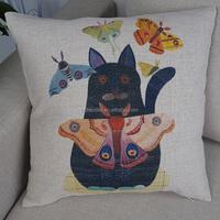 Custom square home decorative cushion cover animal pillow