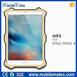 Lovemei MK 2 PU Leather+ Metal+ Shockproof Silicone Case for iPad Mini 4 - Silver