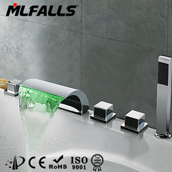 Hot sale china supplier 5 holes deck mount chrome led tap,waterfall taps with hand shower