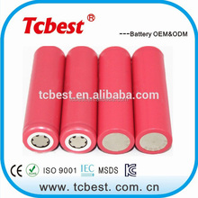 High quality 2500mah 3.7v 1x18650 lithium rechargeable battery
