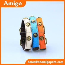 High quality wiht fabric copper material decoration faux leather pet dog collars
