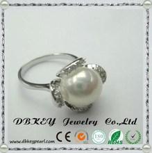 2015 coréenne mariée micro perles incrustées CZ anneau grosse perle bijoux gros