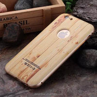 wood Pattern BACK Case Cover with metal frame For iphone 6 ( Can Not Work For 6S)