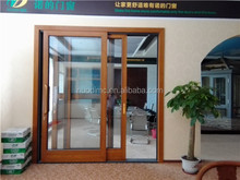 China manufacturer 80 series aluminium alloy wood color frame french sliding door tempered double glazed glass