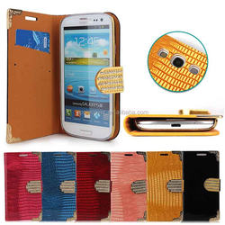 For Samsung galaxy s3 cover case with magnetic closure, wallet stand leather case for samsung galaxy s3 i9300