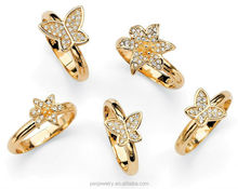Round AAA 14k Yellow Gold Plated 5 Piece Butterfly and Flower Stack Ring Set