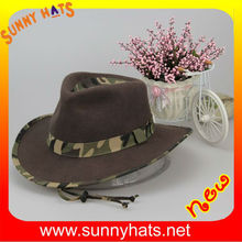 Best Quality Best Price 100% Wool Felt Cowboy Hard Hat For Hunter Wholesale With String