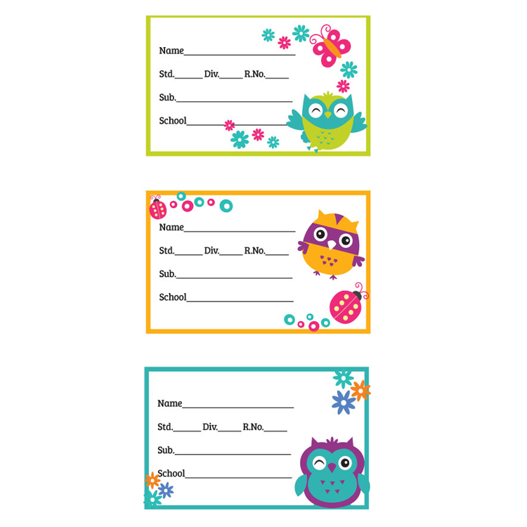 Custom Self Adhesive School Book Labels Name Stickers For