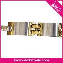 Chapado en oro pulsera de acero inoxidable para las damas
